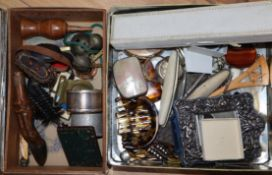 Assorted collectables to include a mother of pearl purse, coin money clip etc