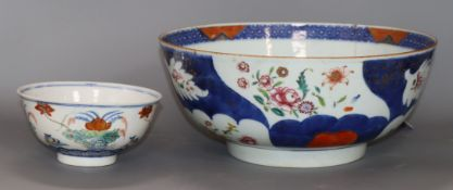 A Chinese bowl and a Chinese Imari bowl largest diameter 28cm
