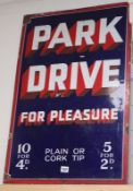 A 'Park Drive for Pleasure' enamel sign 76 x 51cm
