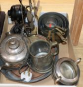 A quantity of mixed metal wares and a fan