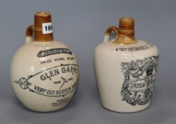 Two advertising stoneware whisky bottles, Glen Garry Cruiskeen Lawn (Mitchell's Irish) tallest 21cm