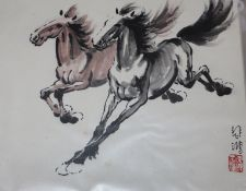 Follower of Xa Beihong, four ink/watercolour studies of horses and sundry pictures, largest 27 x
