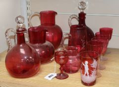 A collection of cranberry and Mary Gregory style glass (11)