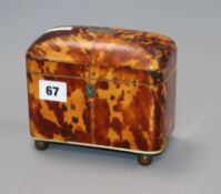 A Regency blond tortoiseshell tea caddy height 14cm