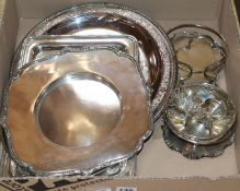 A small group of minor plated ware, including salver dishes etc.