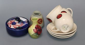Two Moorcroft small vases, a lidded jar and four cups and saucers