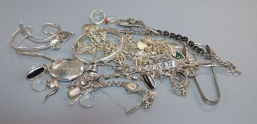 A collection of assorted silver and white metal jewellery etc. including rings, bracelets and