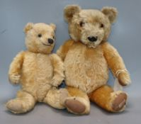 A Chad Valley blonde mohair teddy bear and another teddy bear
