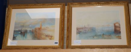 After J M W Turner, pair of watercolours, Moonrise, The Giudecca and The Giudecca from the lagoon,