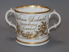 A Victorian porcelain 1862 gamekeeper loving cup height 12cm
