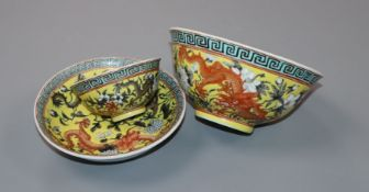 A Chinese enamelled porcelain 'dragon' teabowl and saucer, Qianlong mark, Republic period