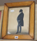 Victorian School, gouache on paper, Full length silhouette of a gentleman, 26 x 21cm