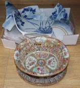 A Chinese famille rose basket and stand and a blue and white bowl, both a.f.
