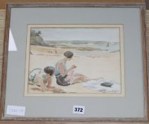 Ronald Gray (1868-1951), watercolour and pencil, Two girls sitting on a beach, signed, 19 x 26cm
