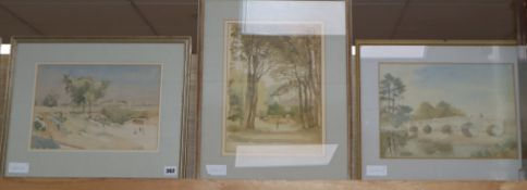 Ronald Gray R.W.S. (1868-1951), three watercolours, Country house with avenue of trees; Norfolk