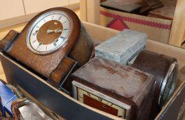 A large quantity of various mantel clocks