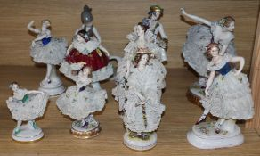 A collection of Dresden style ballet dancers and other figurines tallest 24cm