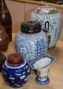 A Chinese porcelain vase, two ginger jars and a jug tallest 33cm