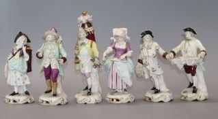 A set of six Rudolfstadt Volkstedt figures of street criers tallest 18cm