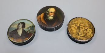 A Stobwasser circular papier mache box and two others, similar