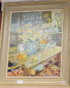 Mary Martin, oil on board, Daffodils in the kitchen, 54 x 44cm and a watercolour by Clare Ormerod