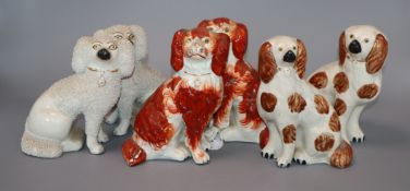 Three pairs of Staffordshire chimney dogs tallest 16cm