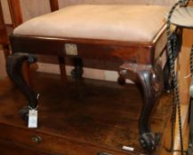 A Victorian rosewood dressing stool W.59cm