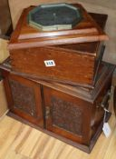 An oak smokers cabinet, a pine box and a barometer