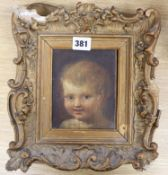 After Dutch Old Master, oil on board, Study of a child, 14 x 11cm