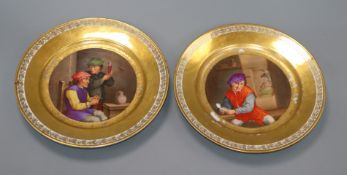 A pair of 19th century Paris porcelain plates diameter 24cm
