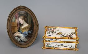 A French oval framed figural plaque and a French faux bamboo box plaque height 21cm incl. frame