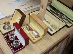A cased French carving set, cruets, servers etc.