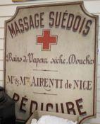 A Massage Suedas Bains de Vesper, Seche Douches sign length 101cm