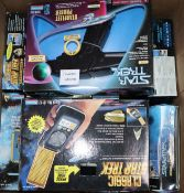 Star Trek - Ban Dai Playmates replica props, four phasers 16081, 6151, 6159, 16144, communicators