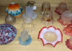 Thirteen Victorian and later glass light shades