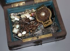A birds eye maple box, containing assorted mainly costume jewellery, including brooches, necklace