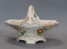 A Dresden floral encrusted porcelain basket height 22cm