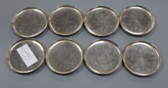 A set of eight Thai sterling dishes, 82mm, 217 grams.
