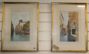 Andrea Biondetti (1851-1946), pair of watercolours, Venetian canal scenes, signed, 31 x 20cm