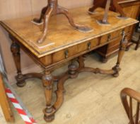 A William and Mary style walnut side table W.122cm
