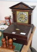 An early 20th century German walnut mantel clock, a Victorian toilet box and a cruet, clock 39cm