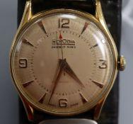 A gentleman's 1950's? 18k yellow metal Herodia manual wind wrist watch, on associated leather