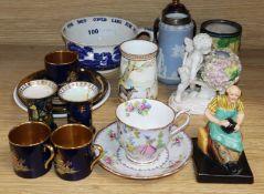 Mixed ceramics including an Aesops Fables vase, a Coalport vase and a Jasper vase etc