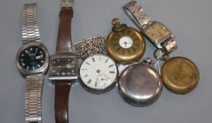 Three pocket watches including silver, a military compass and three wrist watches including Cyma.