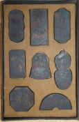 Three cased Chinese inkstone sets