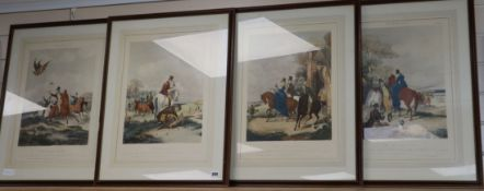 After F.G. Turner, set of four colour prints, Hawking, 48 x 35cm