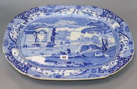 A Spode Italian pattern blue and white meat plate width 53cm