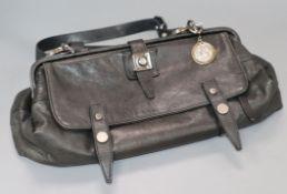 A black leather Lanvin of Paris handbag