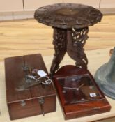 An Eastern carved wood table, a strong box and a railway sleeper clock