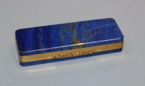 A gold mounted lapis lazuli toothpick box